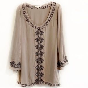 LOVESTITCH Taupe Bell Sleeved Tunic - Dress